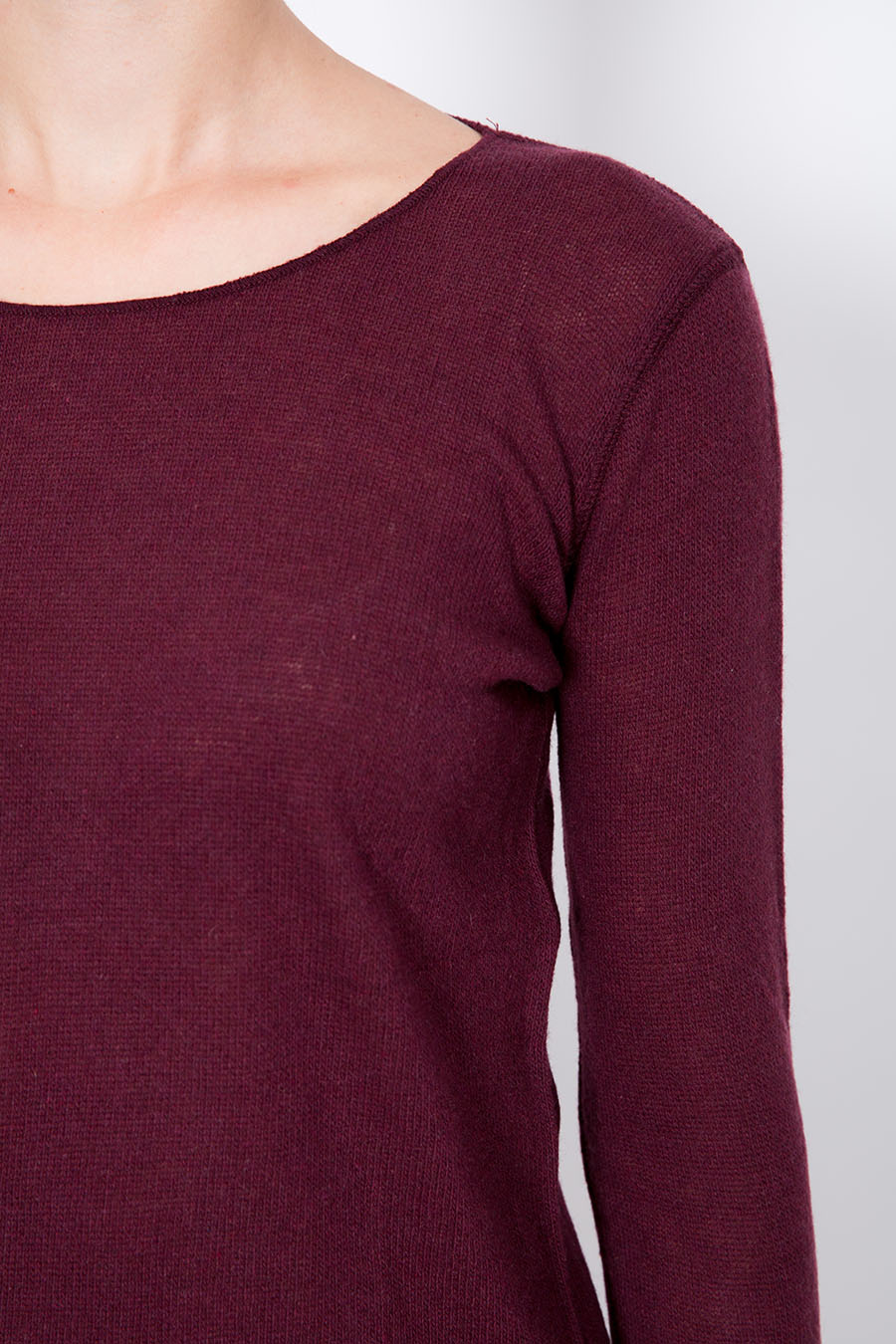 Sail Neck Long Sleeves Cashmere T-Shirt
