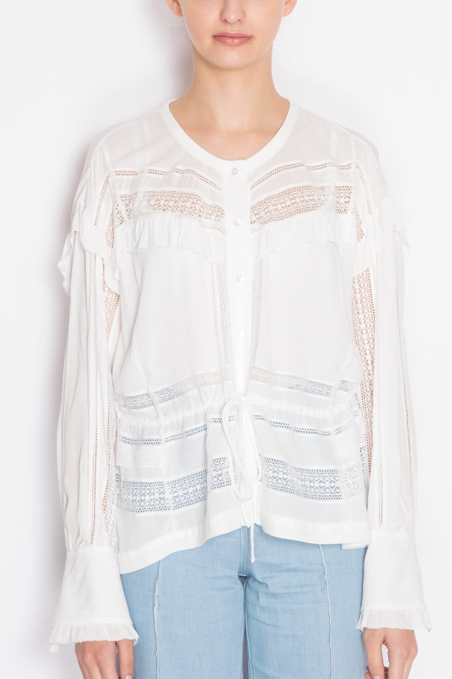 Laced Long-sleeve Blouse