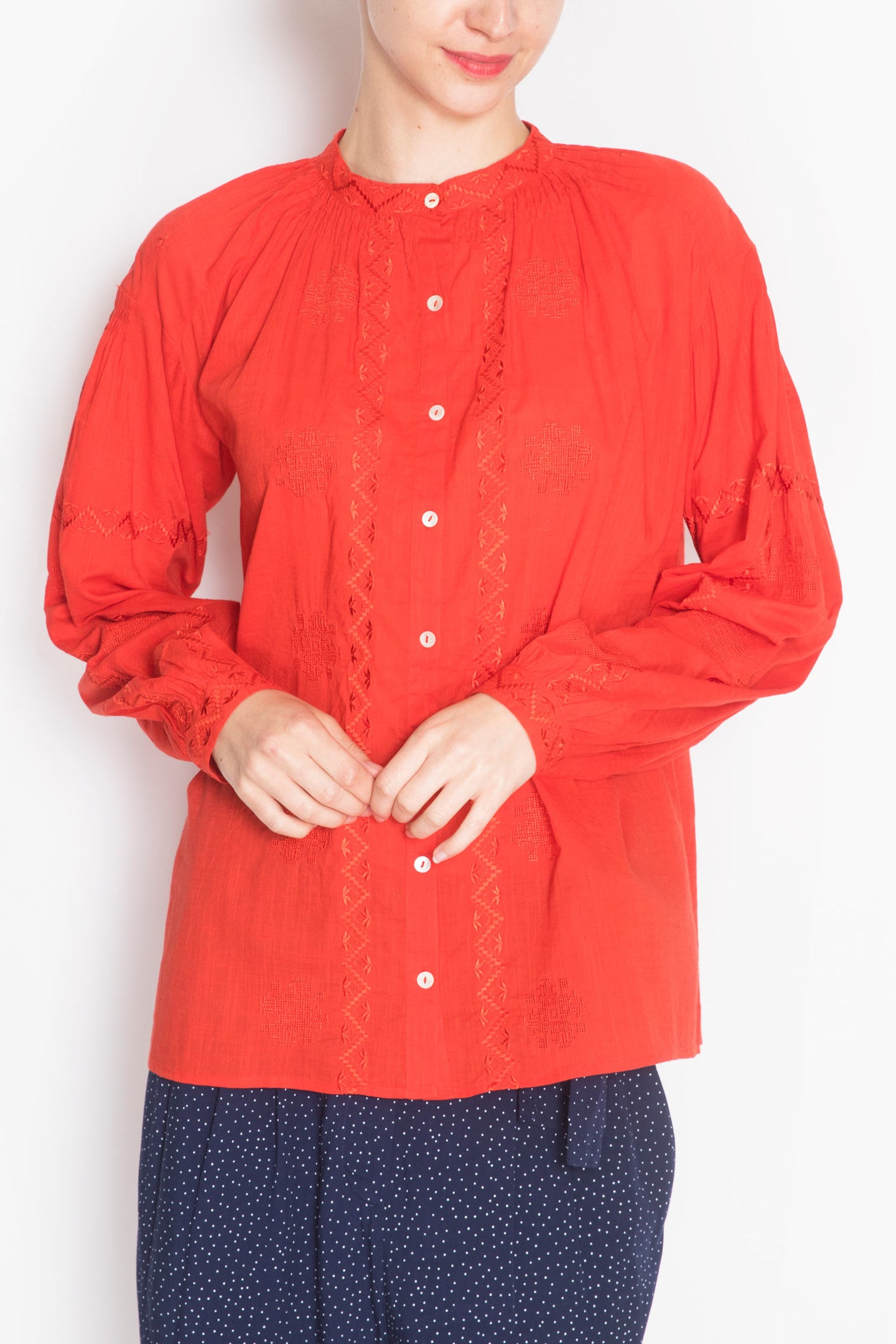 Long-sleeve Embroidered Blouse