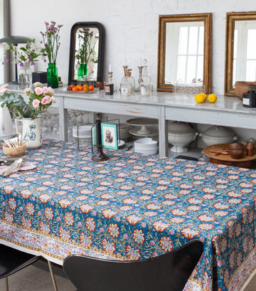 'Louise' Printed Table Cloth Blue