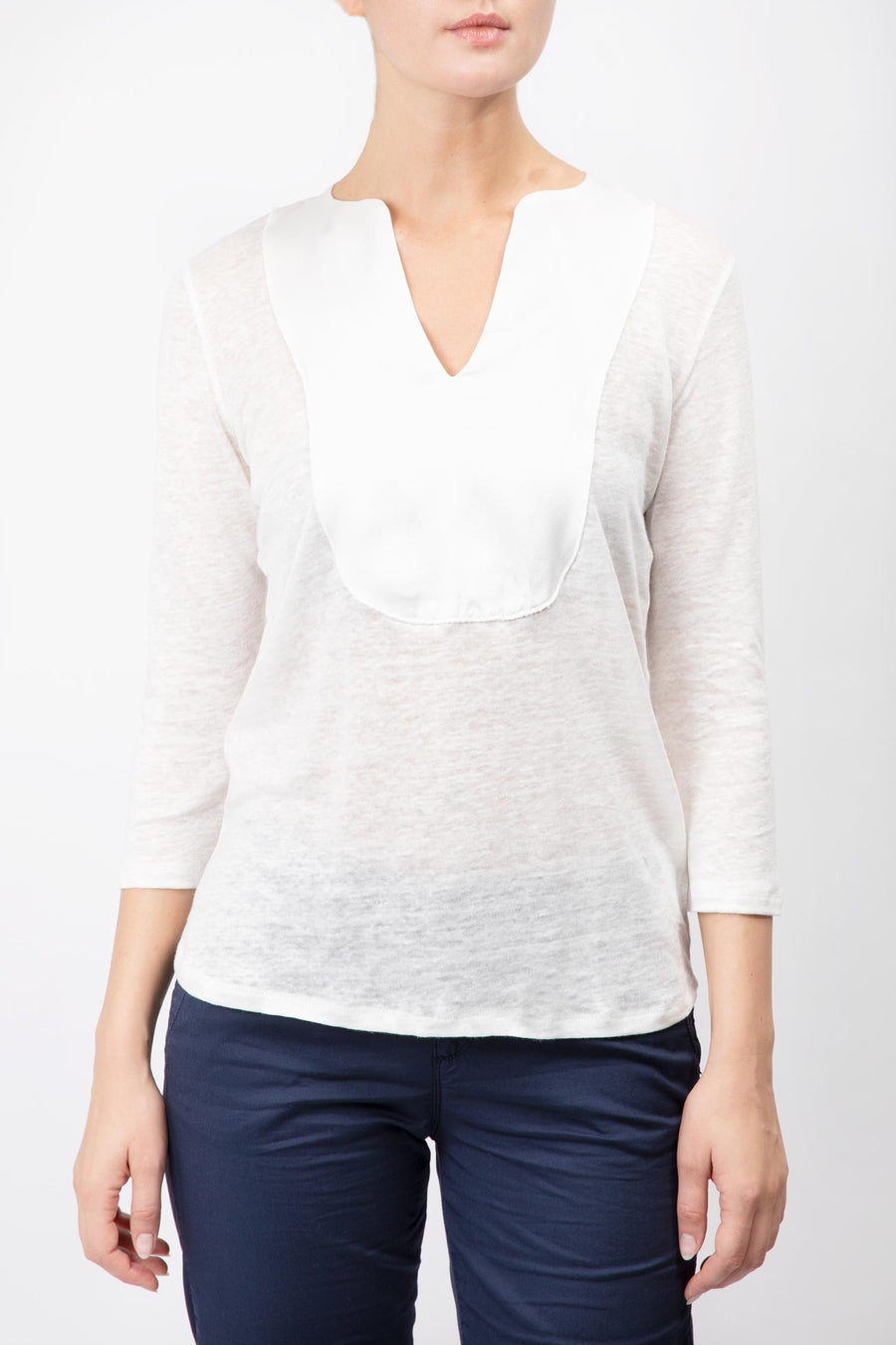 Linen Top With Contrasting Panel
