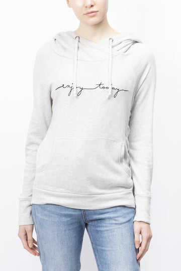 Enjoy Today' Slogan Embroidered Hoodie Natural