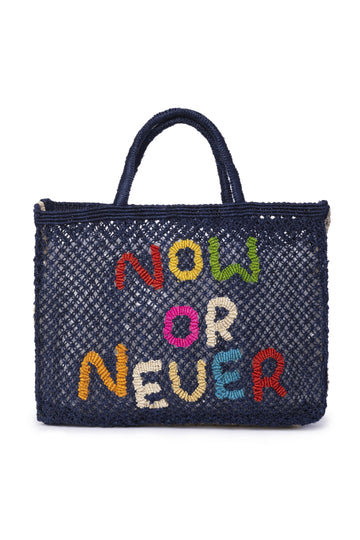 'Now Or Never' Jute Bag (Small) Nat