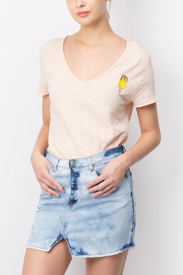 Ice-cream Embroidered V-neck T-shirt Peach