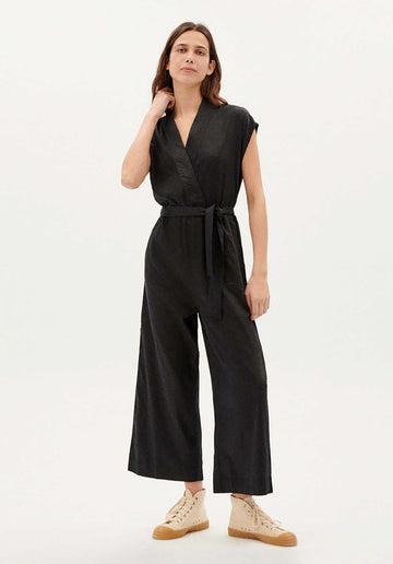 Tie-waist Organic Cotton Jumpsuit Black