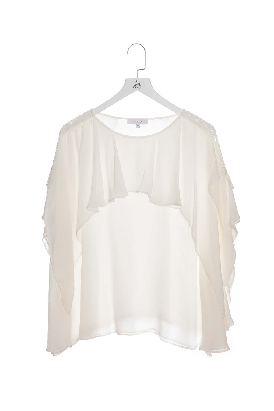 Mid-sleeve Ruffled Top White
