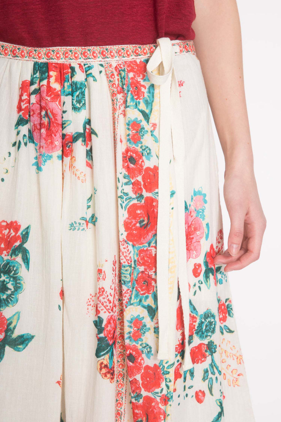Floral Printed Wrap-Over Skirt