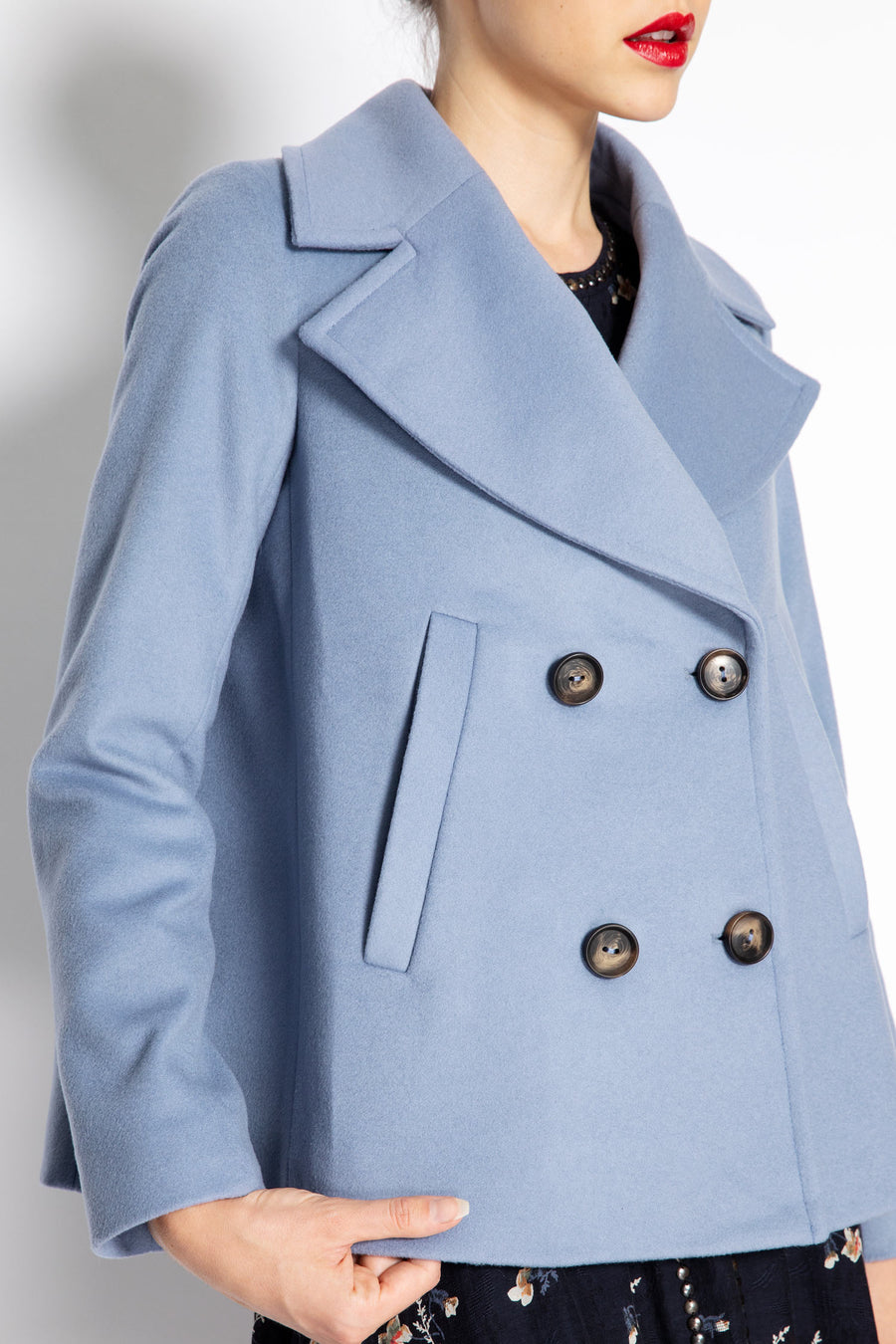 Double Breast Wool Blend Peacoat