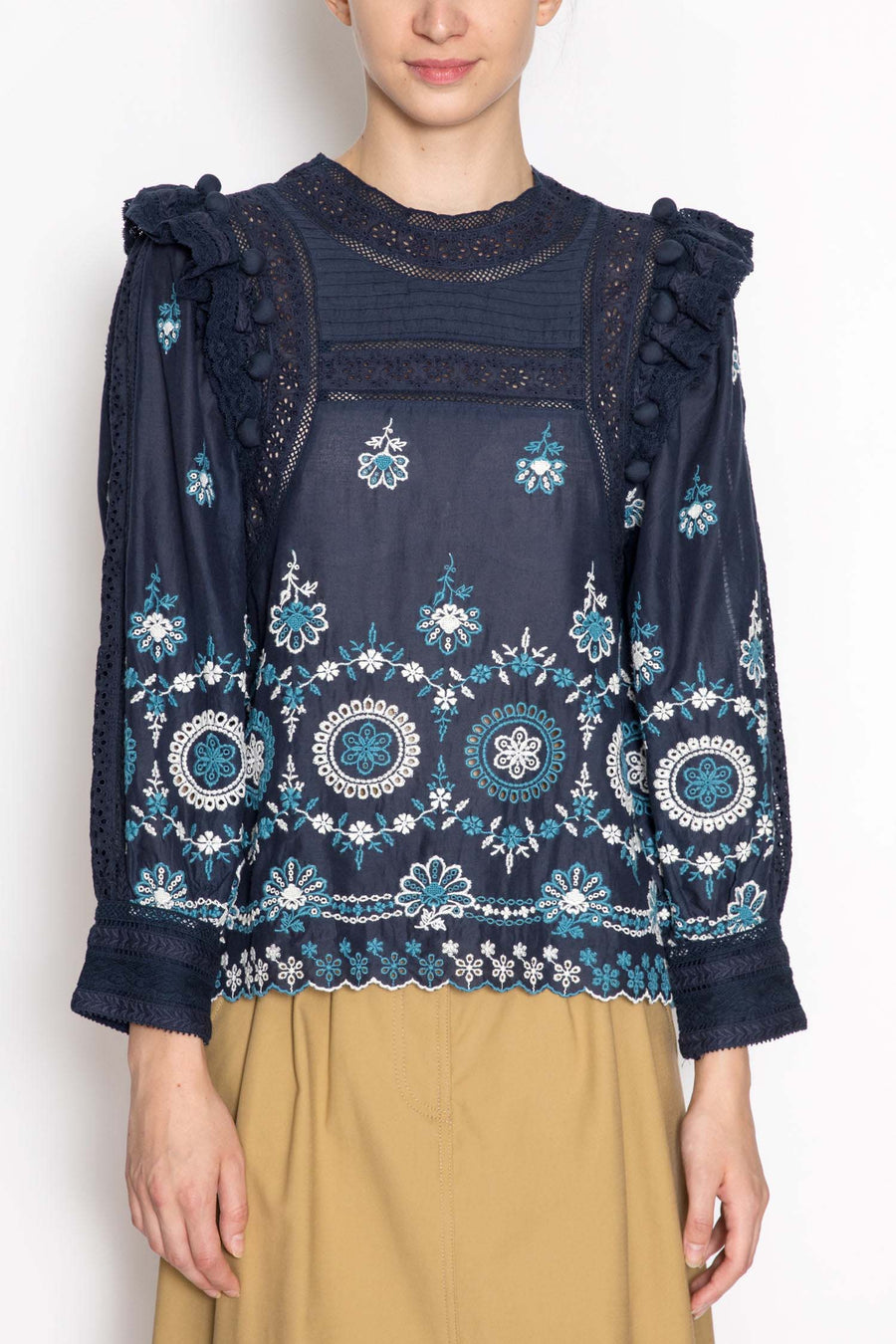 Embroidered Laced Long Sleeve Blouse