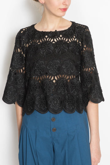 Lasercut Cropped Blouse