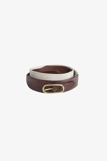 Wide Leather & Canvas Belt