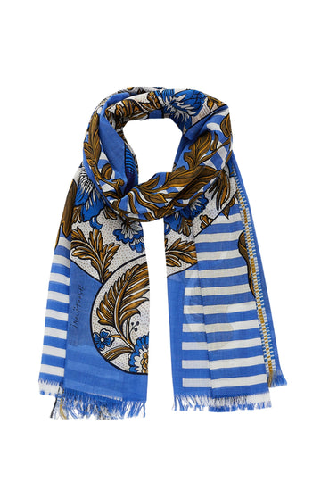 Printed Cotton Blend Scarf (Blue)