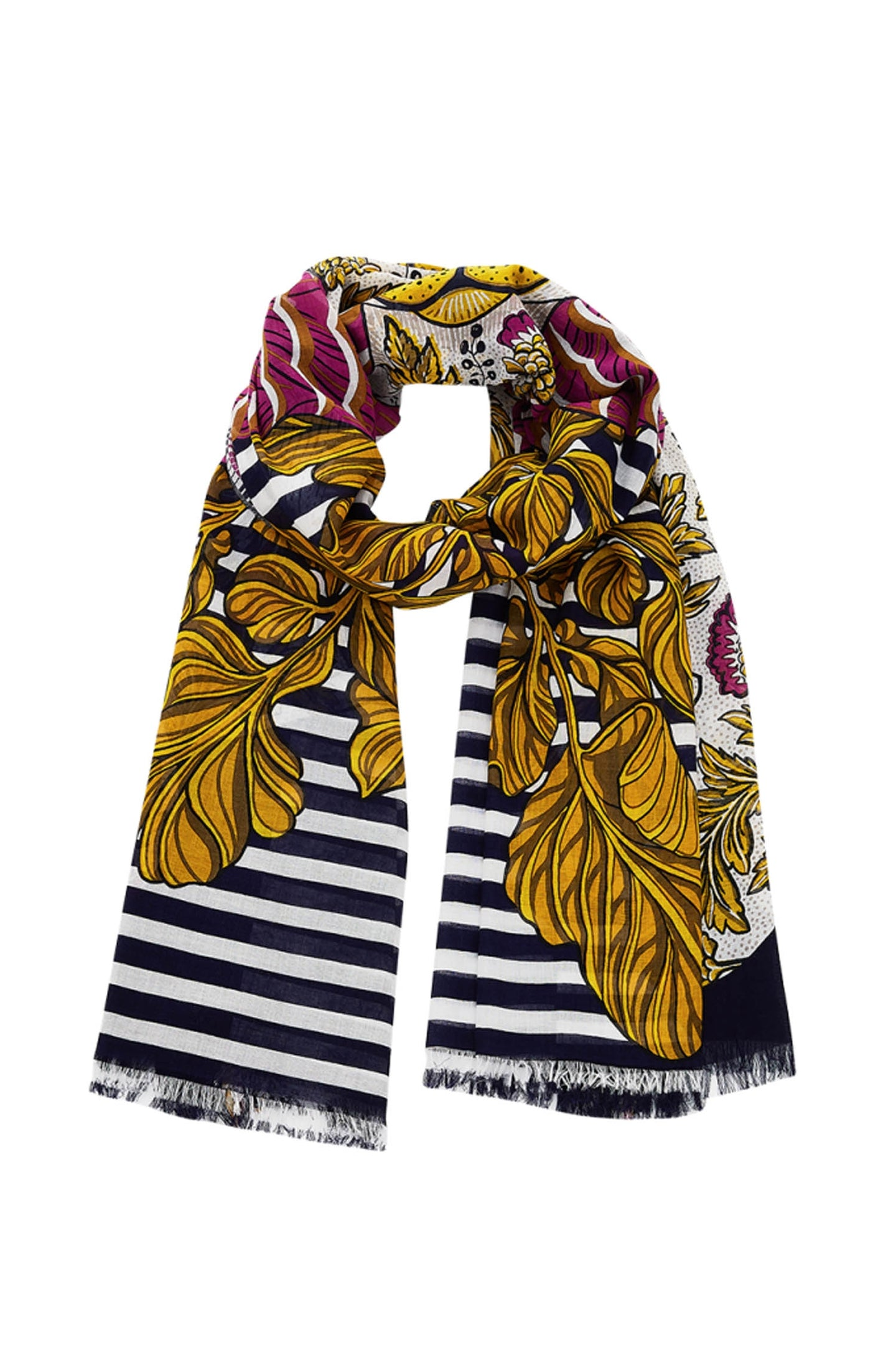 Printed Cotton Blend Scarf Navy