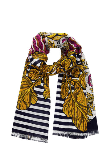 Printed Cotton Blend Scarf (Navy)