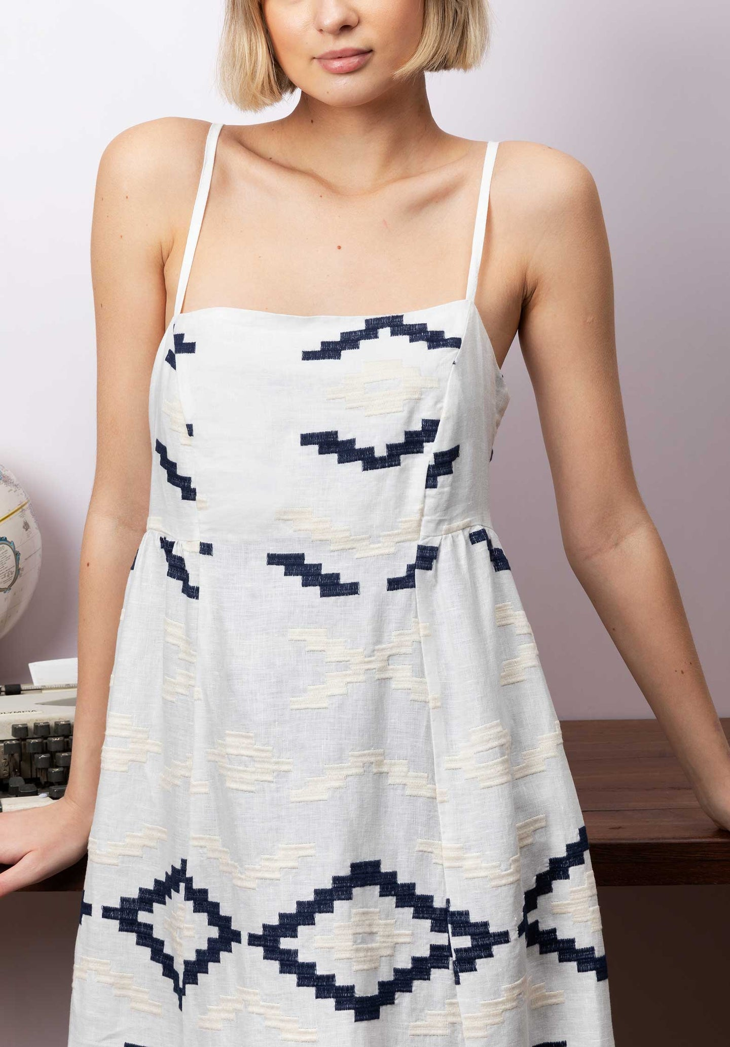 Embroidered Linen Strap Dress White-Blue