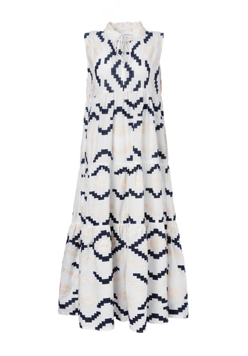 Embroidered Cotton Tiered Dress White-Blue
