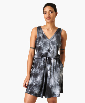 Take It Easy Dress Black-Tie-Dye