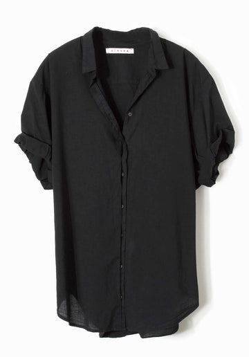 'Channing' Short Sleeves Cotton Shirt Black