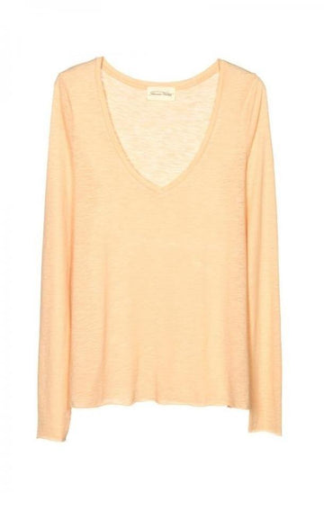 'Jacksonville' V-Neck Long Sleeves T-Shirt Nude