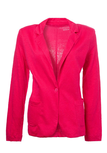 Single Button Linen-blend Blazer Indian-Pink