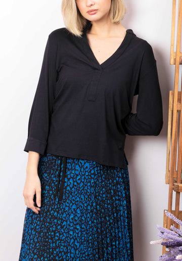 V-neck Blouse Navy