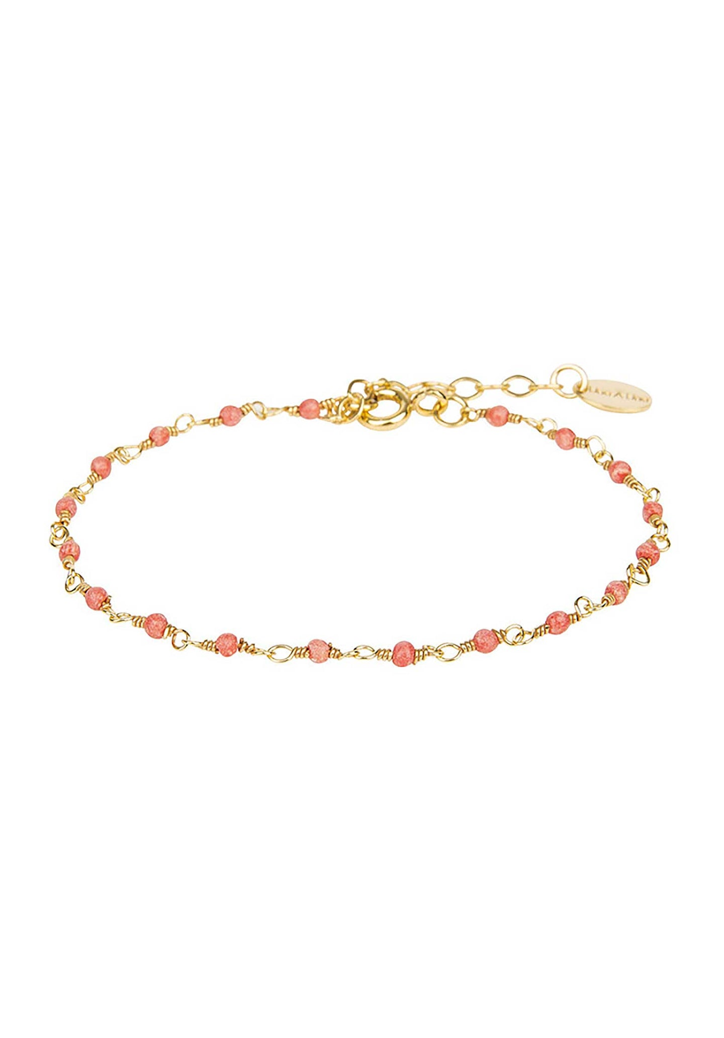 18K Gold Plated  Chain Bracelet Coral