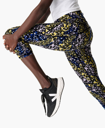 Power Crop Workout Leggings Blue-Flower-Stream-P