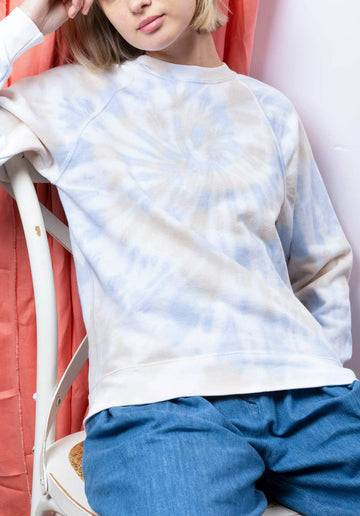 Tie-dye Cotton Blend Classic Sweatshirt Blue-Beige