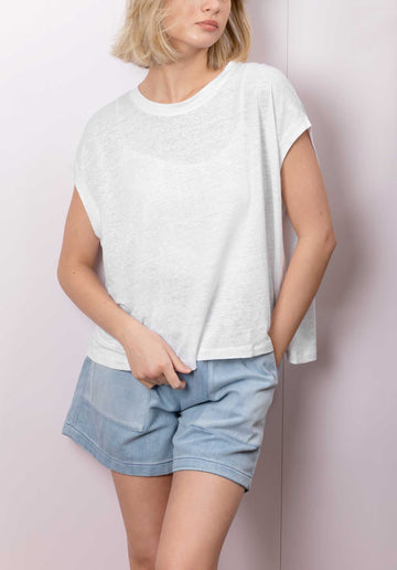 Sleeveless Linen Blend T-shirt White