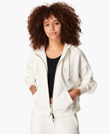 Essentials Zip Through Hoody Lily-White
