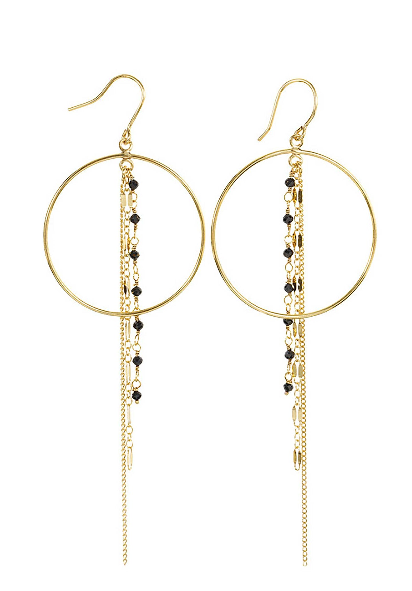 18K Gold Plated Circle Earrings Black-Onyx