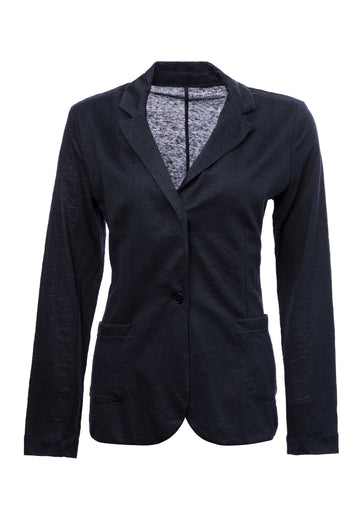 Single Button Linen-blend Blazer Navy
