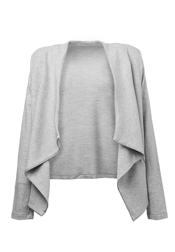 Waterfall Knitted Jacket Light-Heather-Grey
