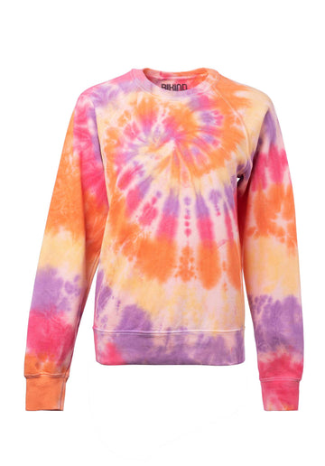 Tie-dye Cotton Blend Classic Sweatshirt Orange-Purple-Pin