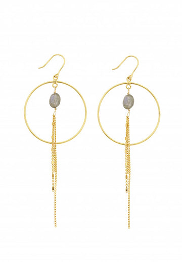 18K Gold Plated Circle Earrings Labradorite