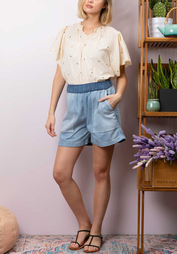 Cotton Blend Denim Shorts Mid-Blue