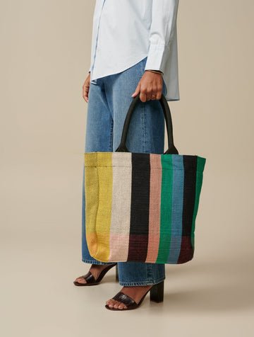 Multicolour Striped Cotton Tote Bag Stripe-A