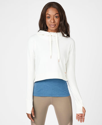 Escape Luxe Fleece Cropped Hoodie Lily-White