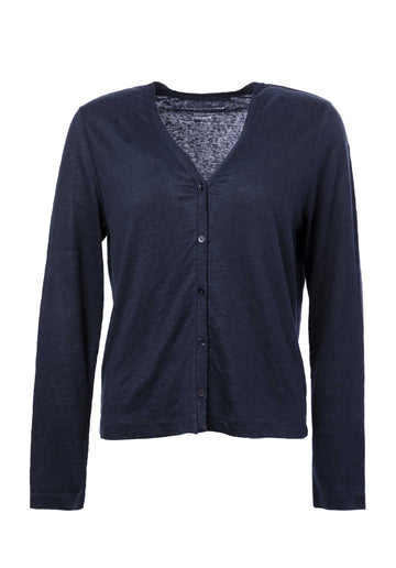 Linen Blended Cardigan Navy