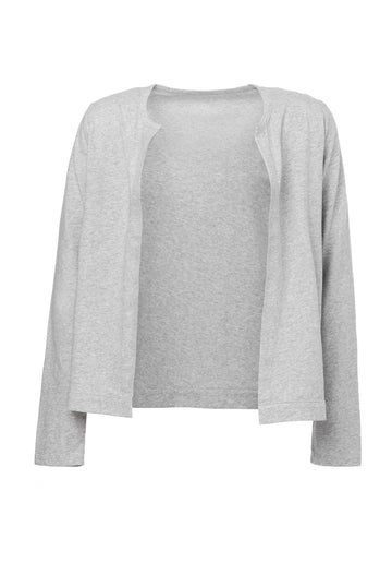 Knitted Cotton Jacket Light-Heather-Grey