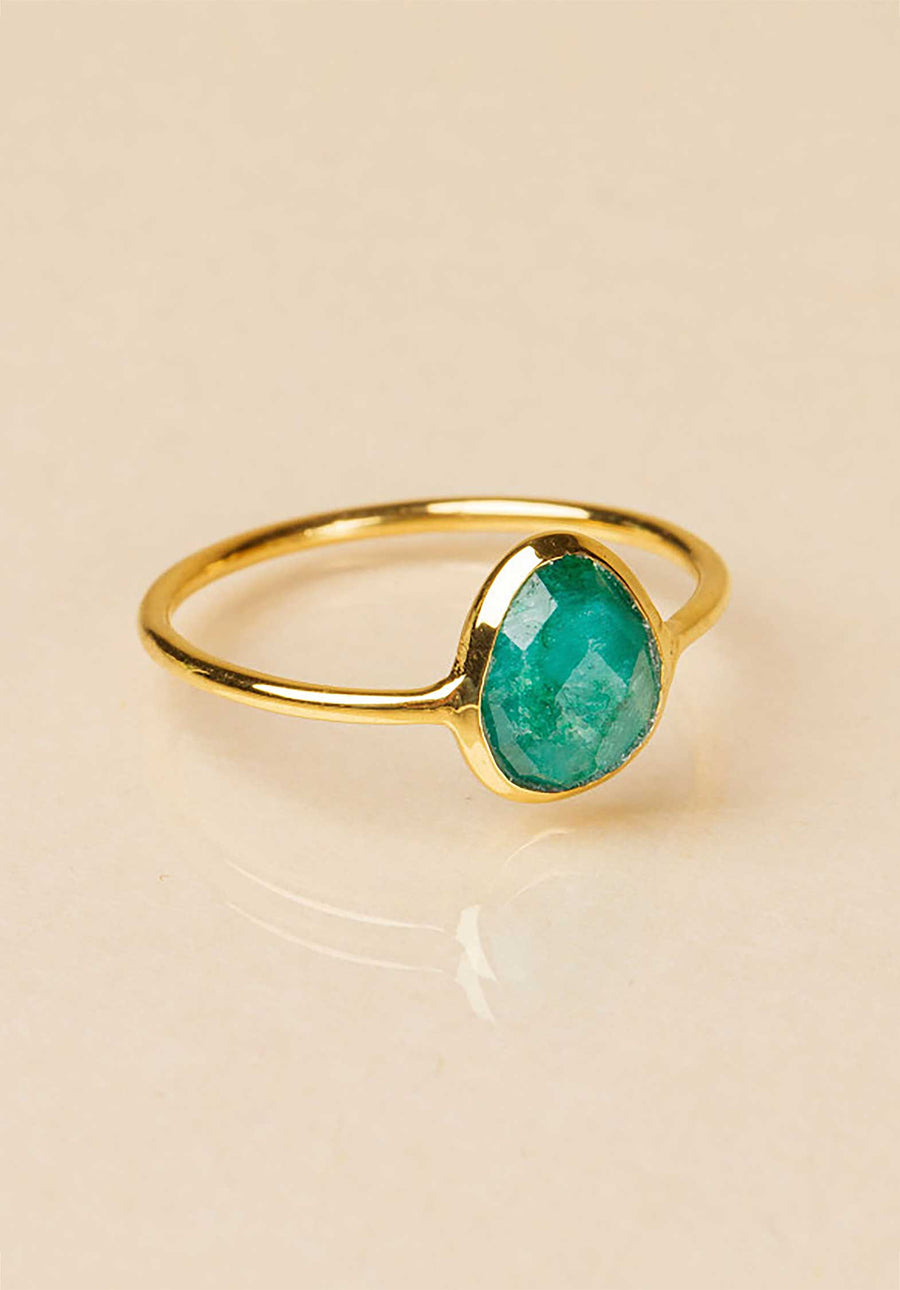 18K Gold Plated Emeraude Ring Emerald