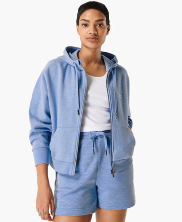 Essentials Zip Through Hoody Coast-Blue