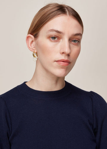 Pearl Double Hoop Earring Gold