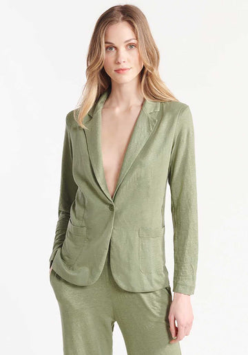 Single Button Linen-blend Blazer Kaki