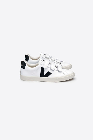 Esplar Leather Hook and Loop Sneakers White-Black