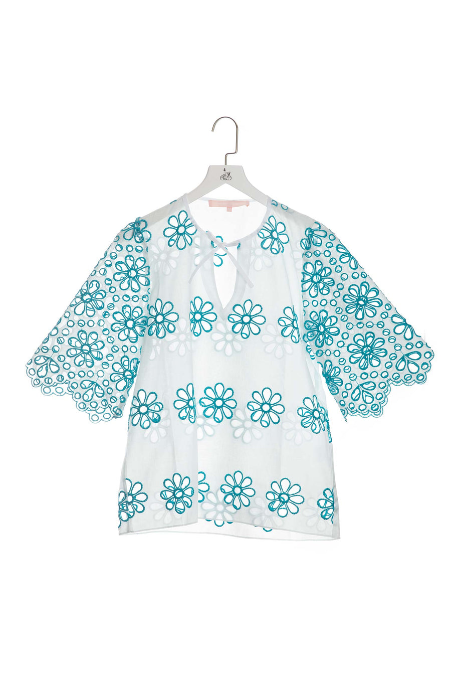 Floral Embroidered Top with Keyhole