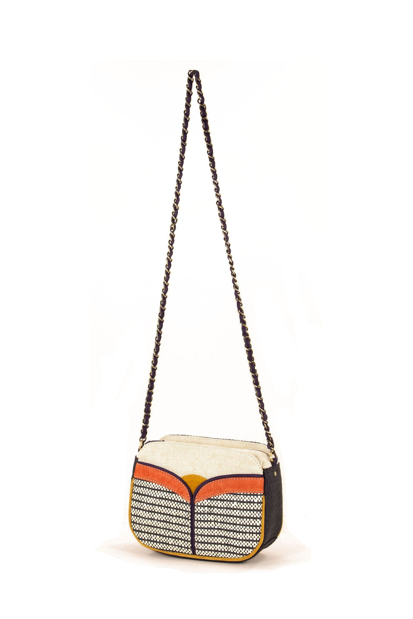 Textile Colour Block Chain Bag