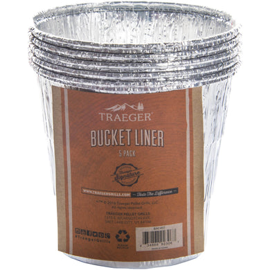 Traeger BAC407 Liner 5 Pack Grease Bucket Pan Liners - All Full Size Grills