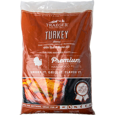 Traeger PEL329 Turkey Pellet Blend with Brine Kit 20 LB Bag - Bourlier's Barbecue and Fireplace