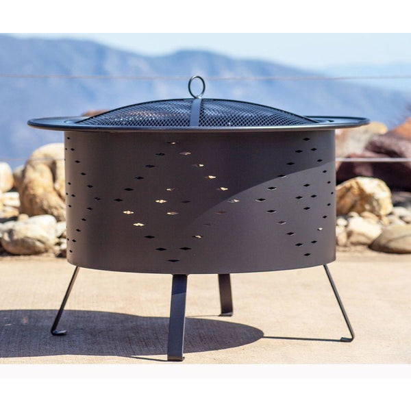 "Buck Stove Wood Burning Fire Pit 30"" Black Diamond Cut Outs RDFP30-BK"